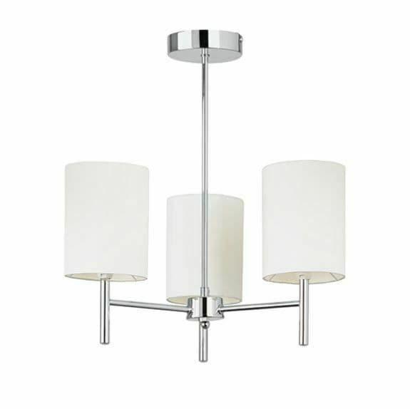 Brio 3 light chrome semi flush complemented with 3 off white faux silk shades